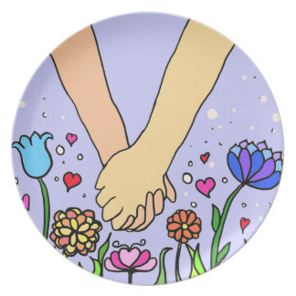 Romantic Holding Hands - dating / anniversary gift Plate