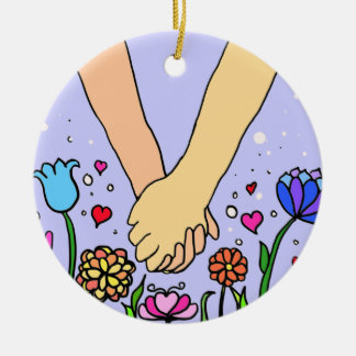 Romantic Holding Hands - dating / anniversary gift Round Ceramic Decoration