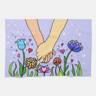 Romantic Holding Hands - dating / anniversary gift Tea Towels