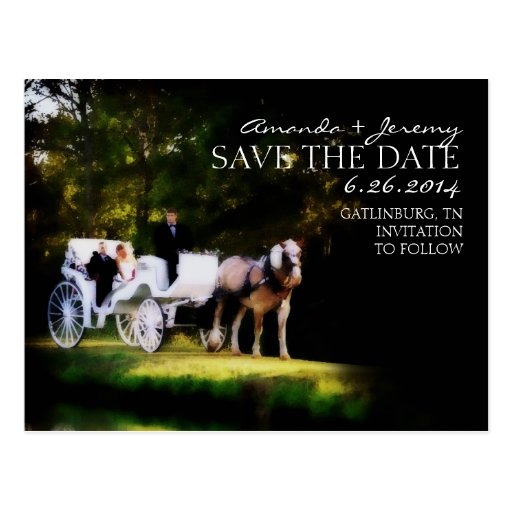 Romantic Horse Carriage Save the Date Postcard