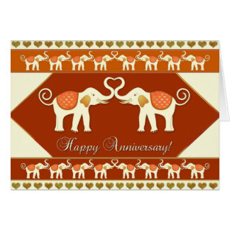 Romantic Indian Elephants Anniversary Card