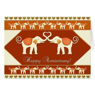 Romantic Indian Elephants Anniversary Card