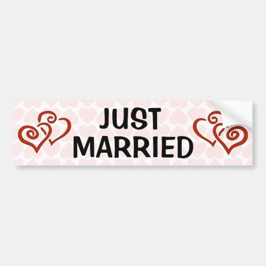 Romantic Intertwined Heart Pattern Just Married Bumper Sticker