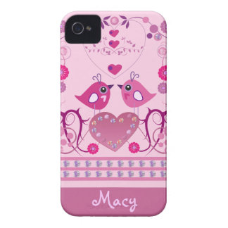 Romantic iPhone 4 Case with Love Birds & name