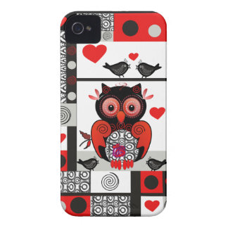Romantic iPhone 4 case with Owl & love birds