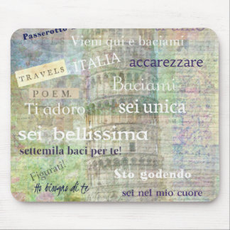 Romantic Italian Phrases and words Mouse Pad