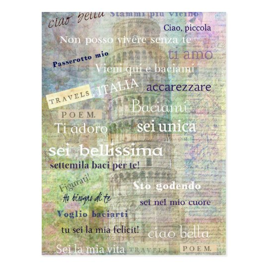 Romantic Italian Phrases and words Postcard
