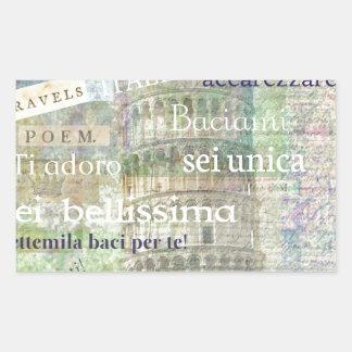 Romantic Italian Phrases and words Rectangular Sticker