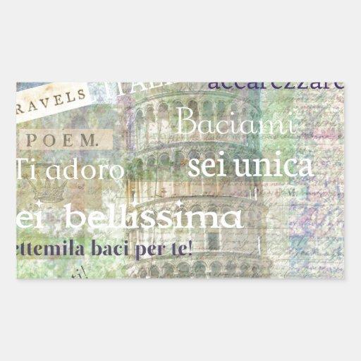 Romantic Italian Phrases and words Rectangular Stickers
