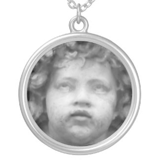 Romantic Italian Renaissance Angel Round Pendant Necklace