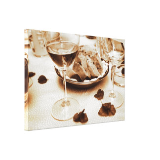 Romantic Italian Restaurant Bread, Wine, Flowers Gallery Wrapped Canvas