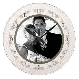 Romantic Ivory Scallop Wedding Photo Large Clock