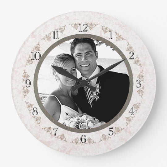 Romantic Ivory Scallop Wedding Photo Large Clock