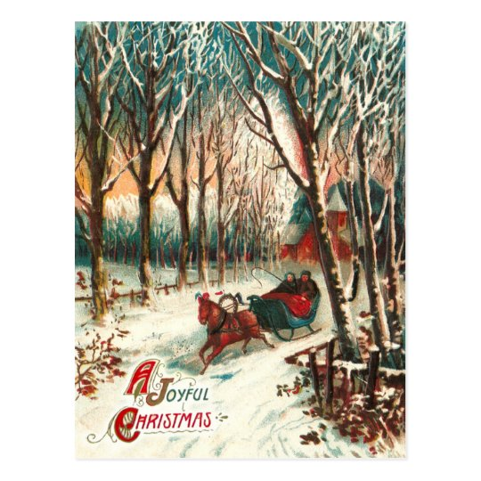 Romantic Joy Ride in A Sleigh at Christmas Postcard