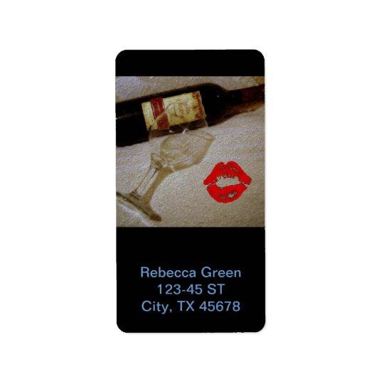Romantic kiss Red wine glasses I Love Wine Address Label