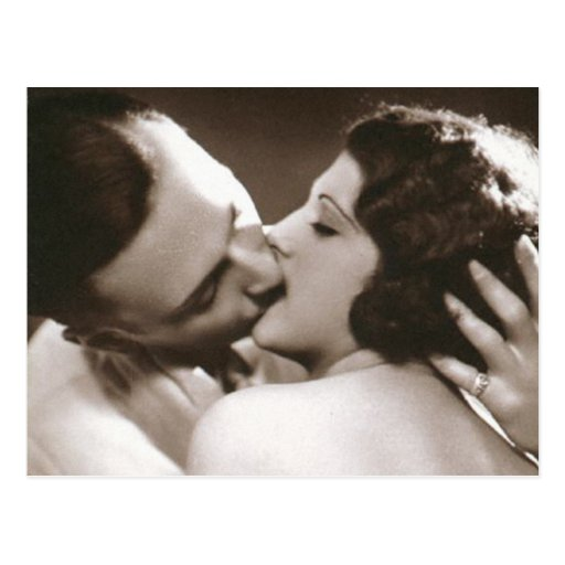 Romantic Kissing Couple Postcard