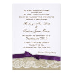 Romantic Lace and Dark Purple Bow Wedding Personalised Announcements