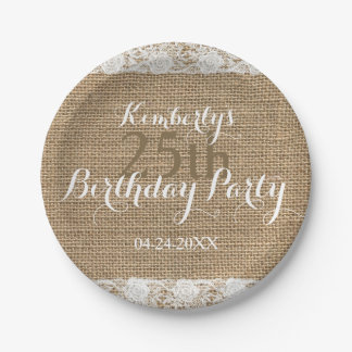 Romantic Lace burlap 25th Birthday Paper Plates