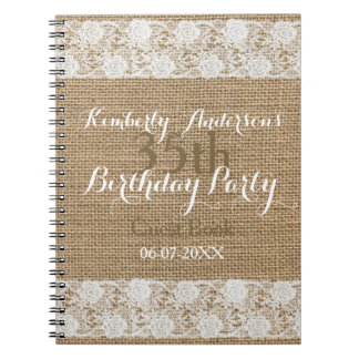 Romantic Lace burlap 35th Birthday Guest Book