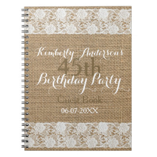 Romantic Lace burlap 45th Birthday Guest Book