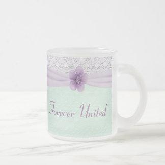 Romantic Lace Flower Mint Green Lavender Married Mugs