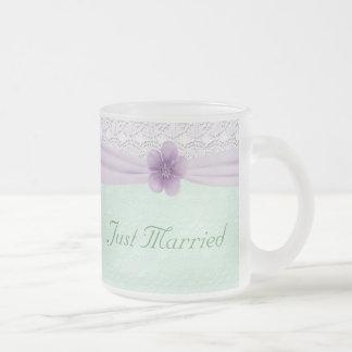 Romantic Lace Flower Mint Green Lavender Newlyweds Coffee Mugs