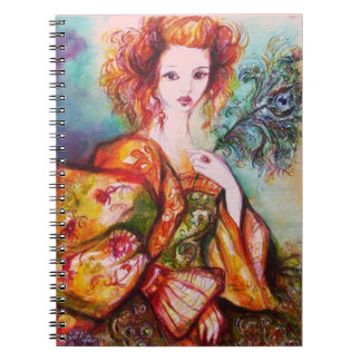 ROMANTIC LADY WITH PEACOCK FEATHER NOTEBOOK