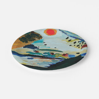 Romantic Landscape by Wassily Kandinsky Paper Plate