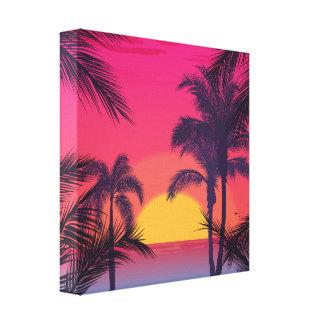 Romantic Landscape with Palm Trees Canvas Print