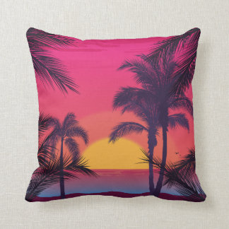 Romantic Landscape with Palm Trees Cushion