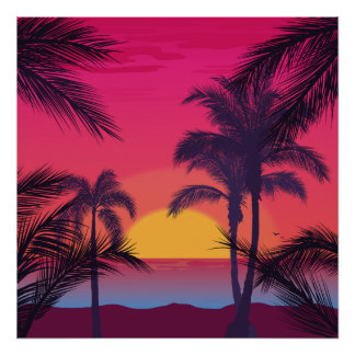 Romantic Landscape with Palm Trees Poster