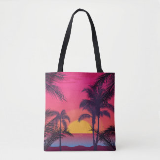 Romantic Landscape with Palm Trees Tote Bag