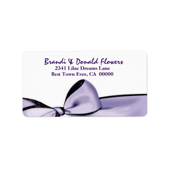 Romantic Lavender Purple Bow Wedding U201 Label