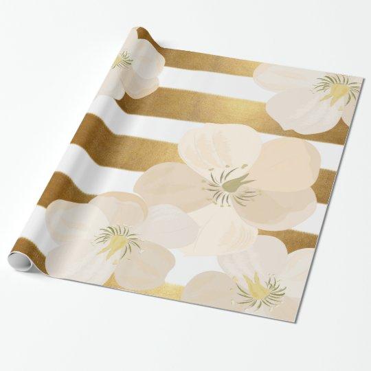 Romantic Le Fleur Pale Pink Gold Stripes Elegant