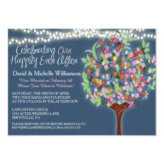 Romantic Lights Whimsical Tree Post Wedding Invite