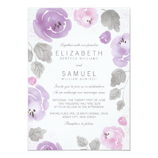 Romantic Lilac Watercolor Roses Wedding Invitation