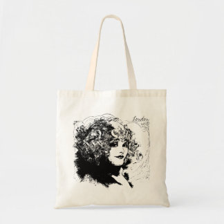 Romantic london lady vintage illustration tote bag