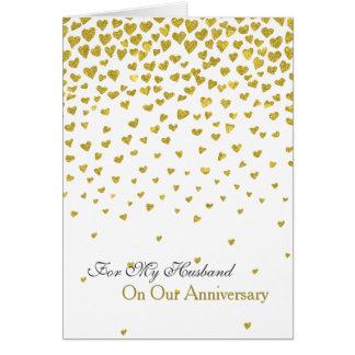 Romantic Love Anniversary Gold Hearts Card
