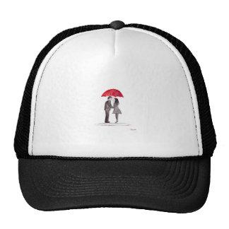 Romantic love couple with red umbrella watercolor cap