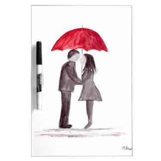 Romantic love couple with red umbrella watercolor Dry-Erase whiteboard