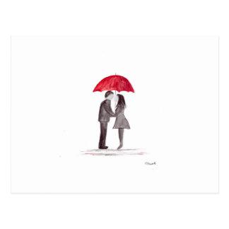 Romantic love couple with red umbrella watercolor postcard