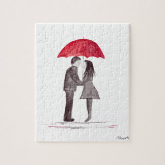 Romantic love couple with red umbrella watercolor puzzles