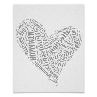Romantic Love Grey and White Heart I Poster