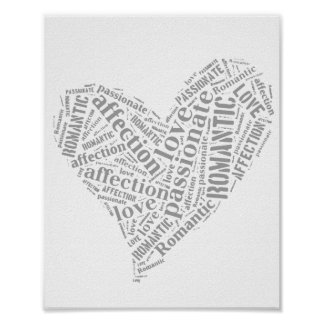 Romantic Love Grey and White Heart II Poster