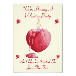 romantic love heart shaped candle valentine party 13 cm x 18 cm invitation card