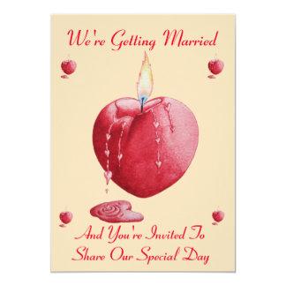 romantic love heart shaped red candle art wedding 13 cm x 18 cm invitation card