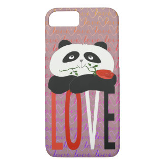 Romantic Love Panda Cartoon Funny Cute Girly iPhone 8/7 Case