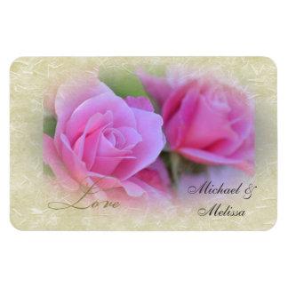 Romantic Love Pink Roses Rectangular Photo Magnet