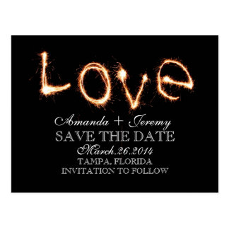 Romantic Love Sparklers Save The Date Postcards