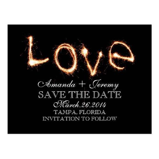 Romantic Love Sparklers Save The Date Postcards